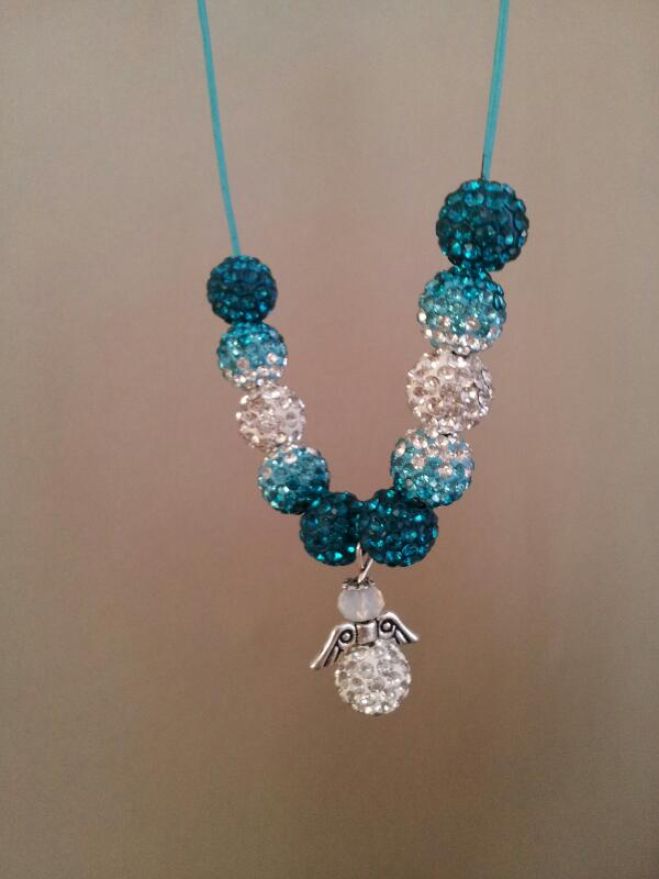 Blue shamballa angel necklace