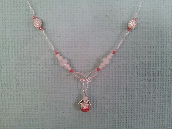 Silver necklace padparadscha angel 925