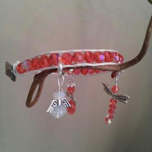 padparadscha wrap leather charm bracelet