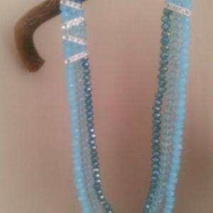 3 row crystal beads necklace