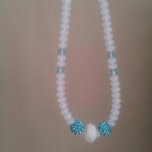 White blue chamballa crystal necklace