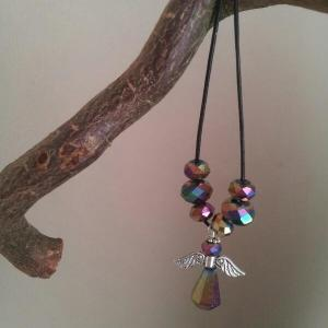 multicolor crystal Angel necklace